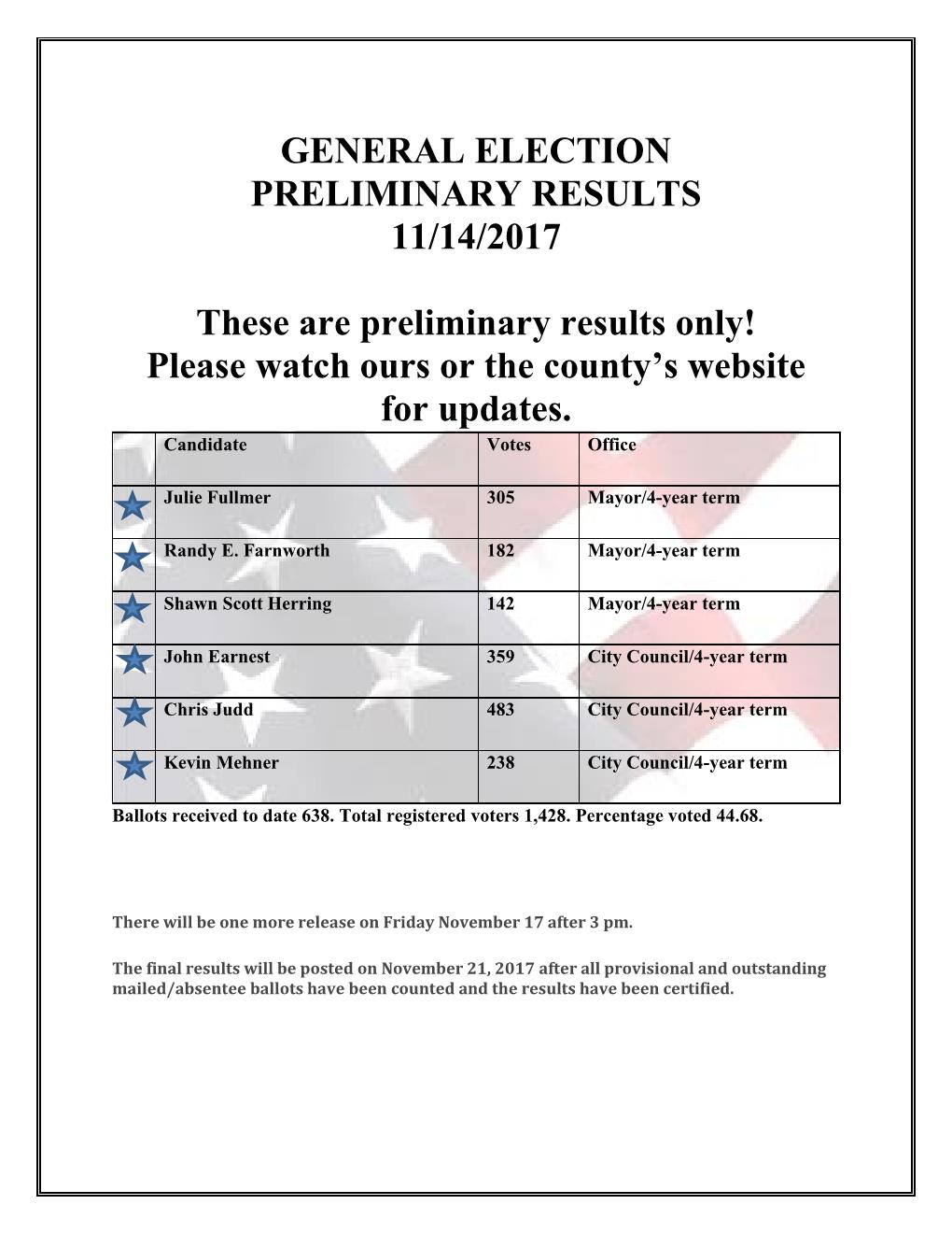 2017 ELECTION Preliminary Results 11.14.2017