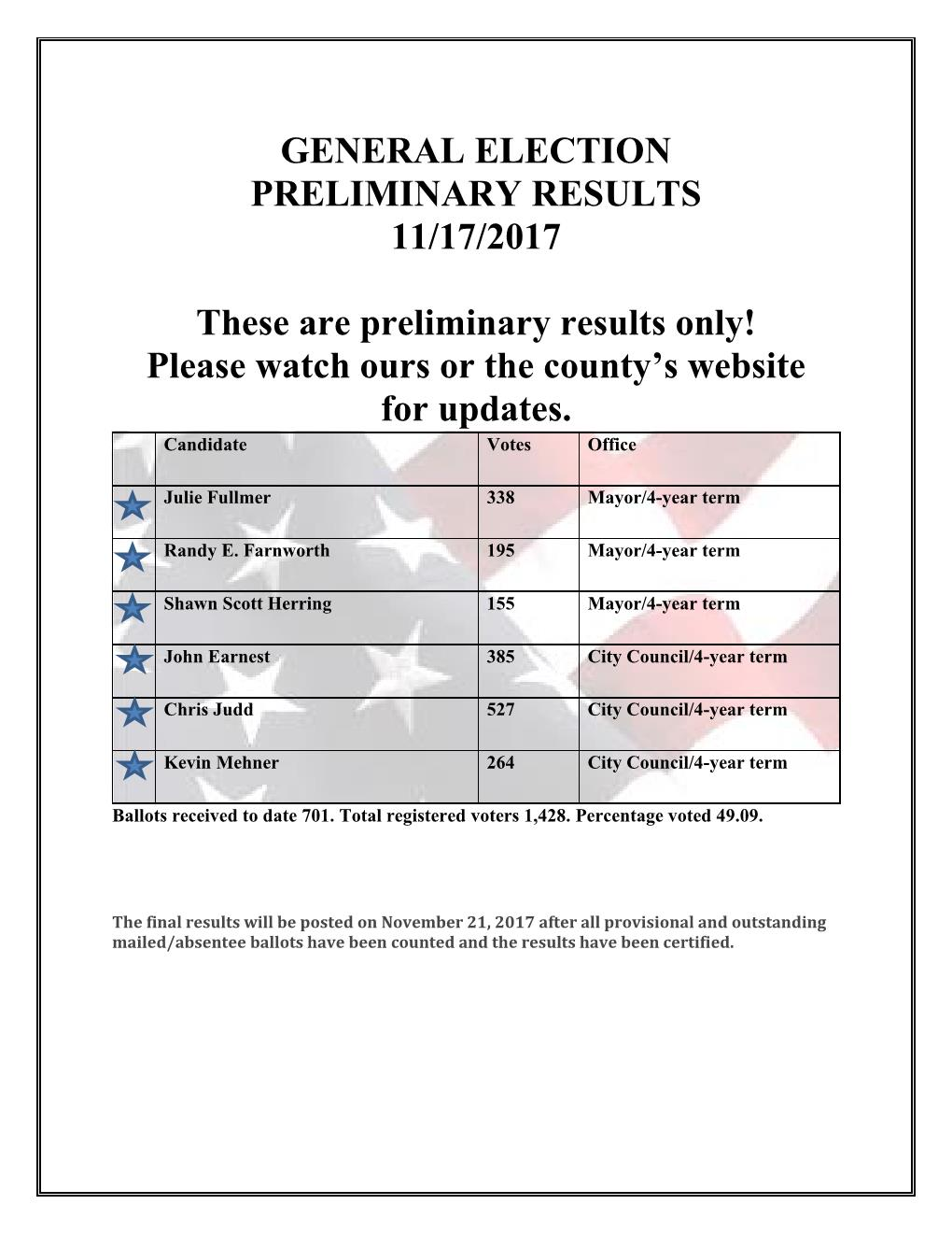 2017 ELECTION Preliminary Results 11.17.2017