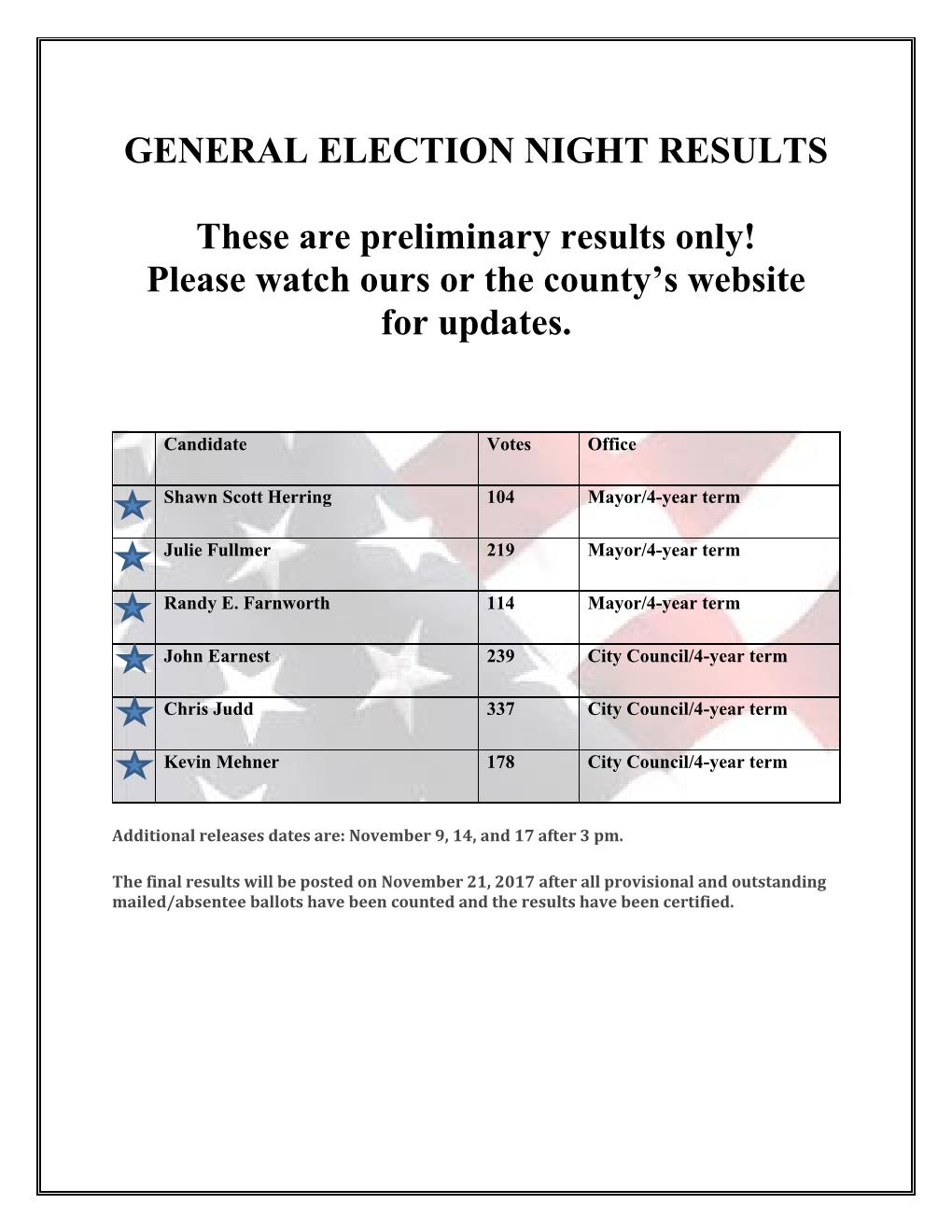2017 ELECTION Night Preliminary Results