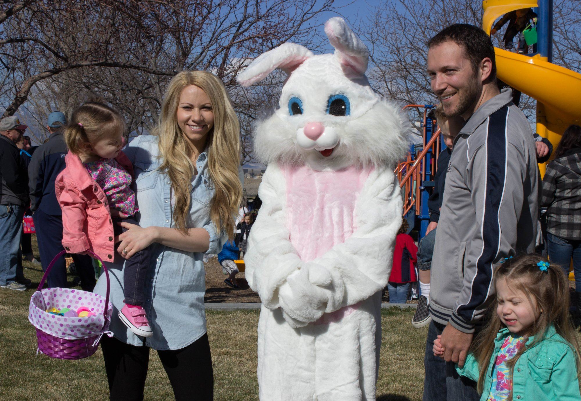 The Easter Bunny with a family.